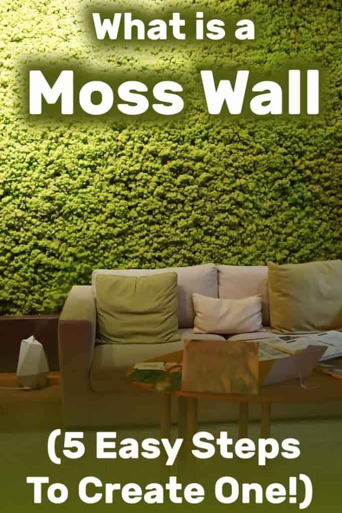 Modern green living room with moss wall, wooden coffee table and sofa set, What Is a Moss Wall (And You Can Create One in 5 Easy Steps)