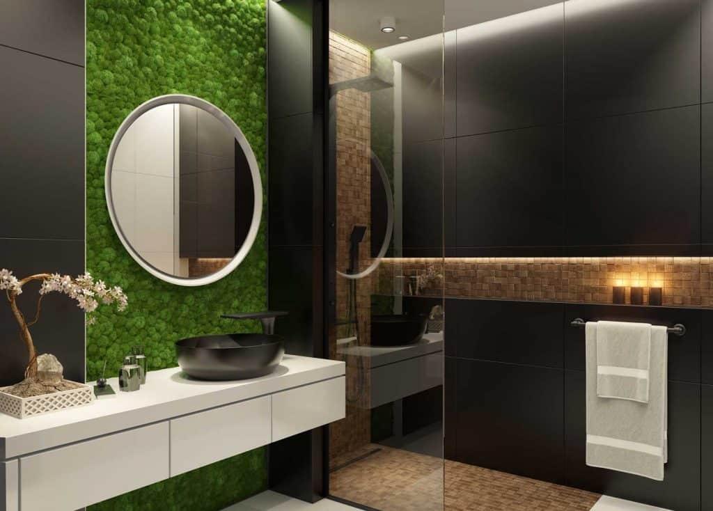 Modern minimalist bathroom with green moss wall