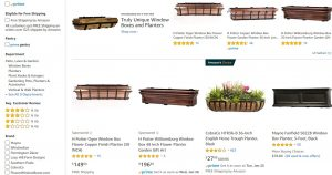 Amazon website page for windows plant boxes