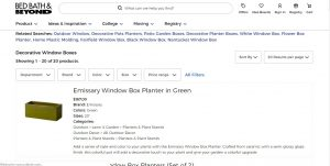 Bed, Bath, and beyond website page for windows plant boxes