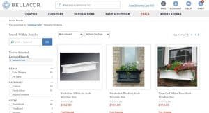 Bellacor website page for windows plant boxes