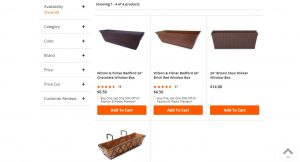 Big Lots website page for windows plant boxes