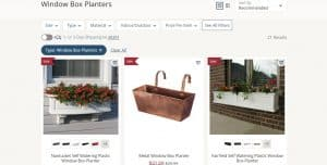 Birch Lane website page for windows plant boxes