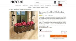 Design Toscano website page for windows plant boxes