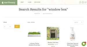 Earth Easy website page for windows plant boxes