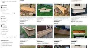 Etsy website page for windows plant boxes