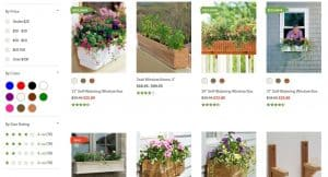 Gardener's Supply Company website page for windows plant boxes