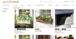 Grandin Road website page for windows plant boxes