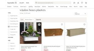 Hayneedle website page for windows plant boxes