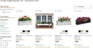 Home Depot website page for windows plant boxes