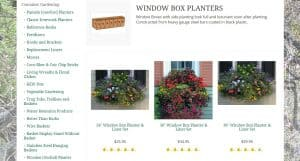 Kinsman Company website page for windows plant boxes