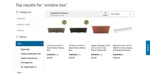 Lowe's website page for windows plant boxes
