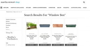 Martha Stewart website page for windows plant boxes