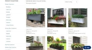 Mayne website page for windows plant boxes