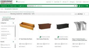 Menards website page for windows plant boxes