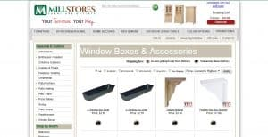 MIllsotores Furniture Outlets website page for windows plant boxes