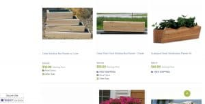 Outdoor Furniture Plus website page for windows plant boxes