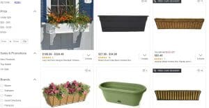 Overstock website page for windows plant boxes