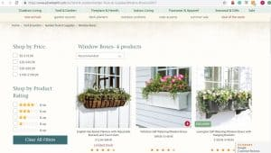 Plow Hearth website page for windows plant boxes