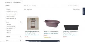 QVC website page for windows plant boxes