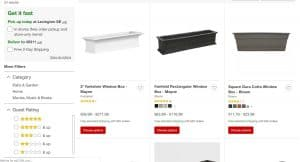 Target website page for windows plant boxes