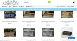 The Garden Gates website page for windows plant boxes