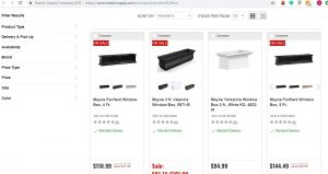 Tractor Supply website page for windows plant boxes