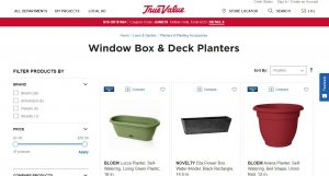 True Value website page for windows plant boxes