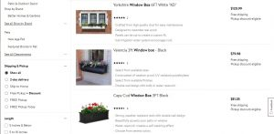Walmart website page for windows plant boxes