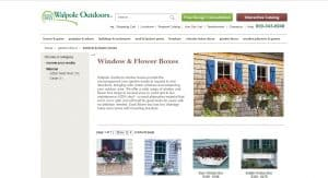 Walpole Outdoor website page for windows plant boxes