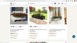 Wayfair website page for windows plant boxes