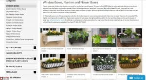 Window Box website page for windows plant boxes