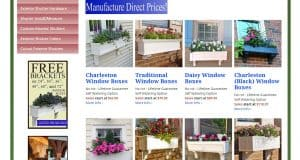 Window Flower Boxes website page for windows plant boxes