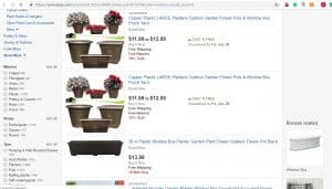 Ebay website page for windows plant boxes