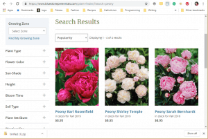 Bluestone Perennials website product page for Peony Plants or Bulbs