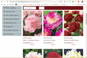 Dutch Gardens website product page for Peony Plants or Bulbs