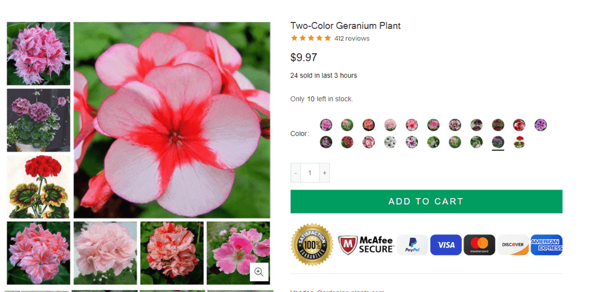 Gardening-Plants website product page