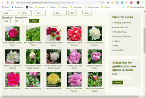 Greenwood Nursery website product page for Peony Plants or Bulbs