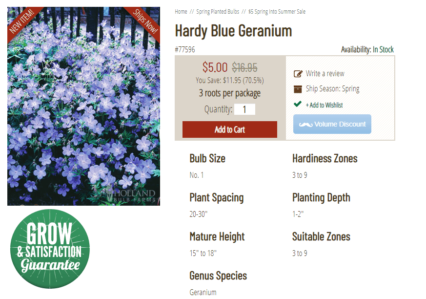Holland Bulb Farms website product page