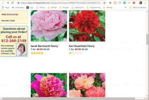 MIchigan Bulb website product page for Peony Plants or Bulbs