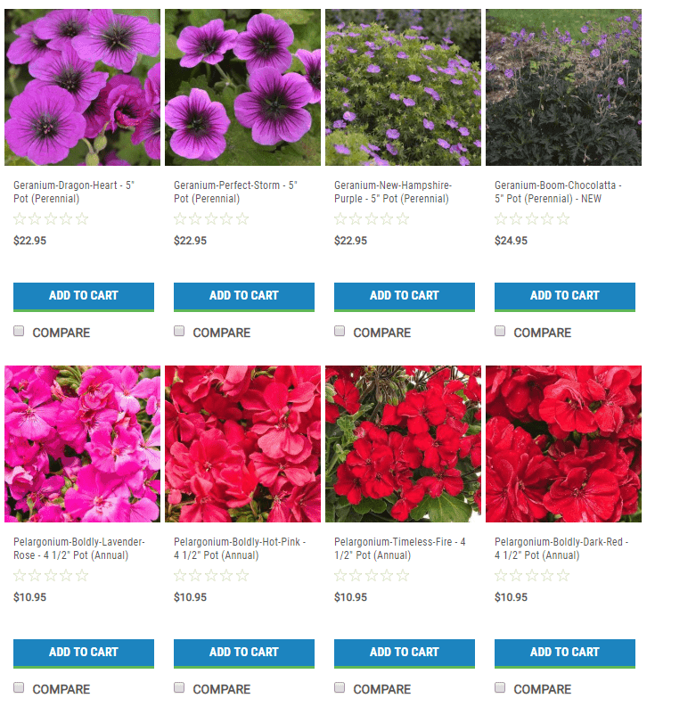 Nursery Stock website product page