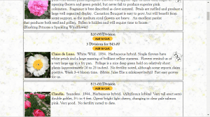 Solaris Farms website product page for Peony Plants or Bulbs