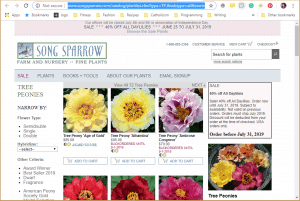 Song Sparrow website product page for Peony Plants or Bulbs