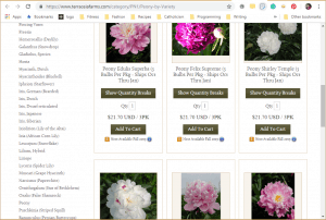 Terra Ceia Farms website product page for Peony Plants or Bulbs