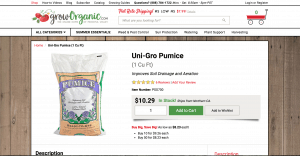 Grow Organic website product page