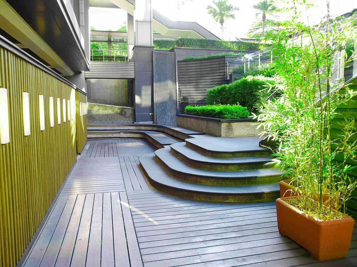 Garden and wooden walkway
