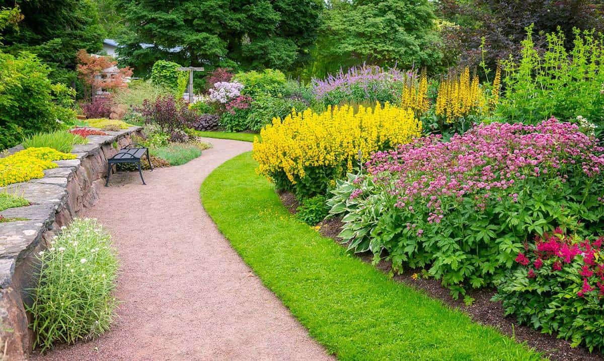 Garden path and flowerbeds in beautiful park