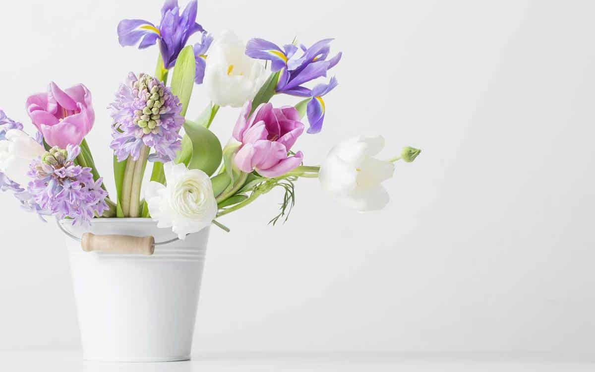 Spring-flowers-in-bucket