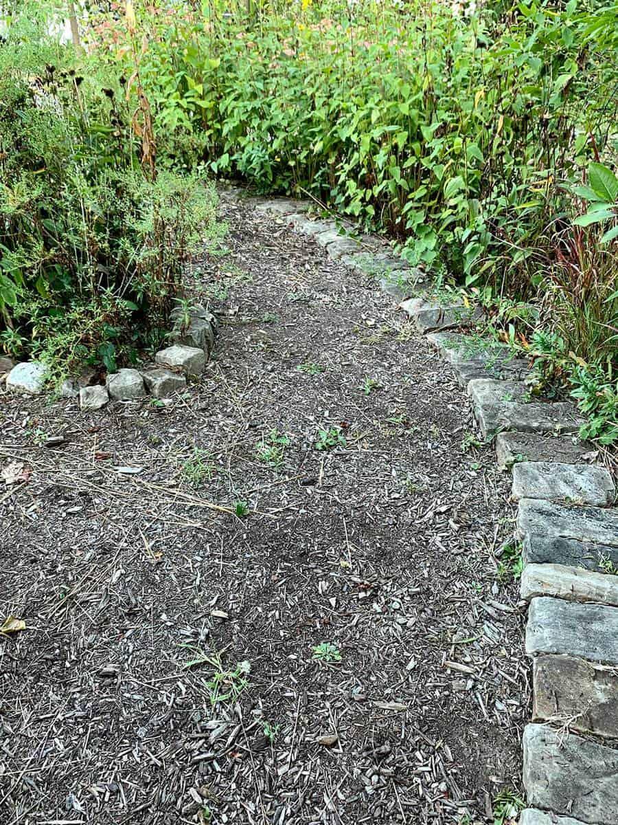 Stone edging garden path