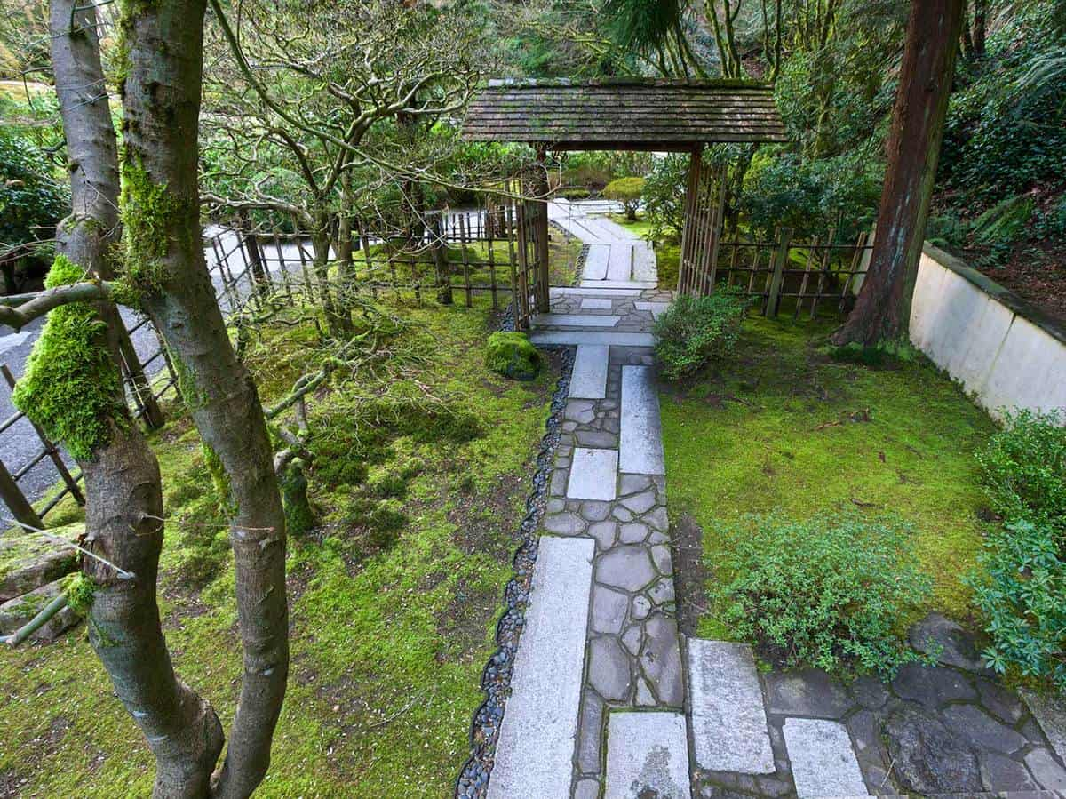 Stone path fence entry gate